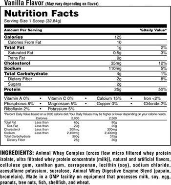 Universal Nutrition Animal Whey 1.8 kg facts